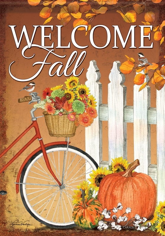 Fall Bicycle House Flag