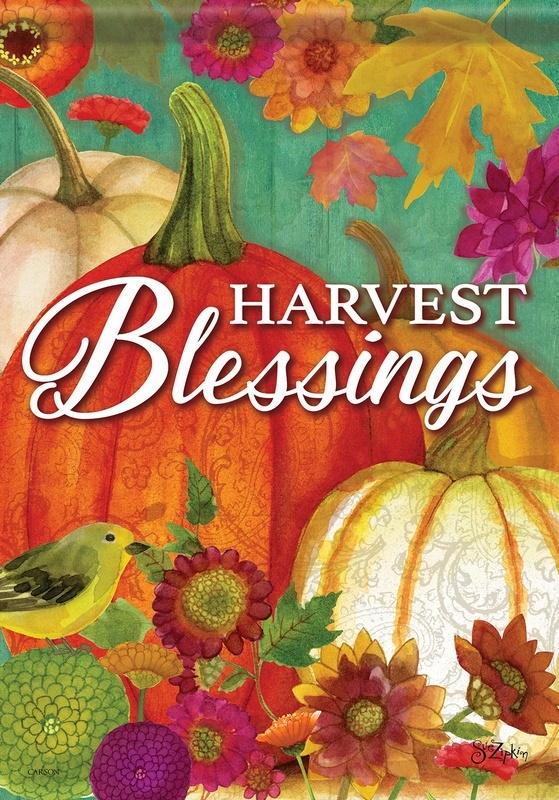Pumpkin Harvest Blessings House Flag