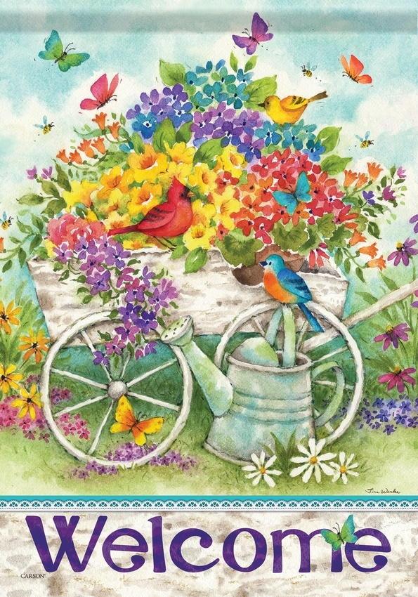 Garden Flower Cart House Flag