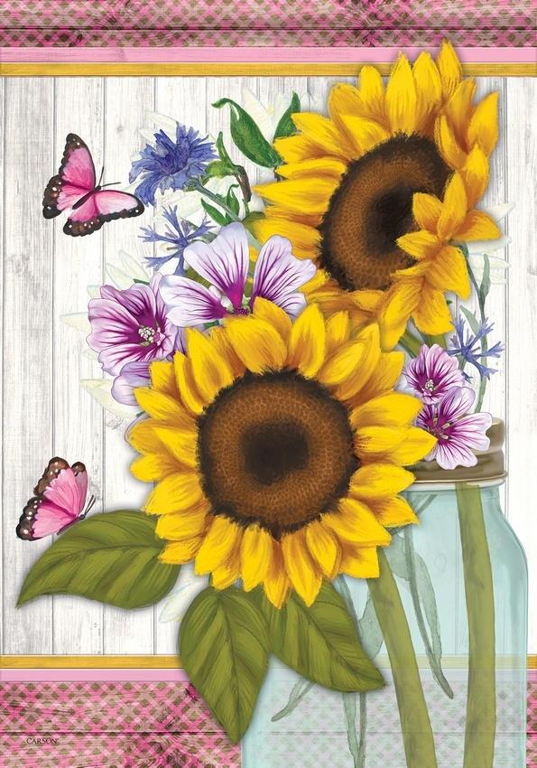 Sunflowers & Butterflies House Flag