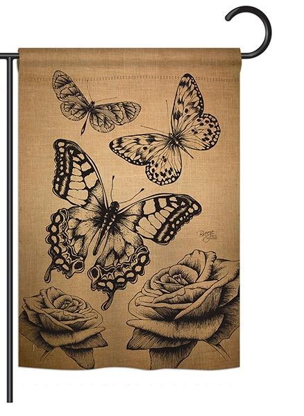 Butterflies Burlap Garden Flag