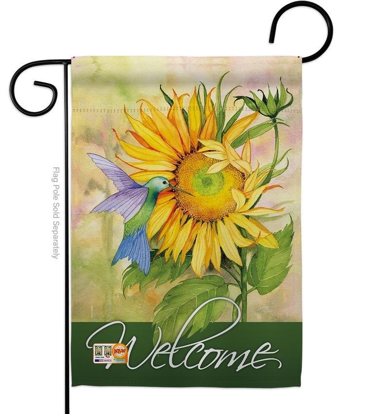 Sunflower With Hummingbird Garden Flag