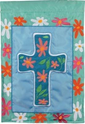 Floral Cross Applique House Flag