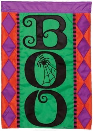 Halloween Boo Applique House Flag