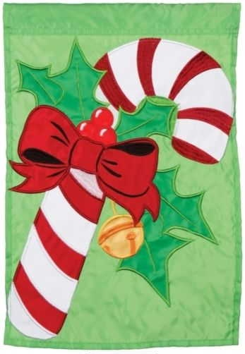 Candy Cane Christmas Single Applique House Flag