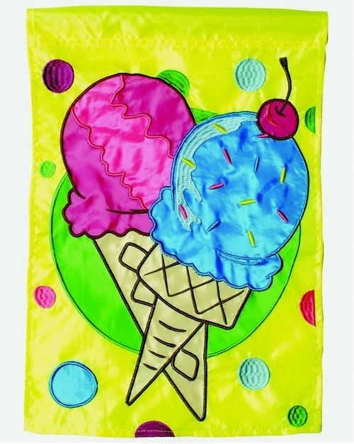Ice Cream Single Applique House Flag
