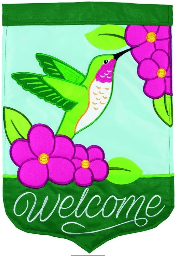 Hummingbird Welcome Double Applique Garden Flag