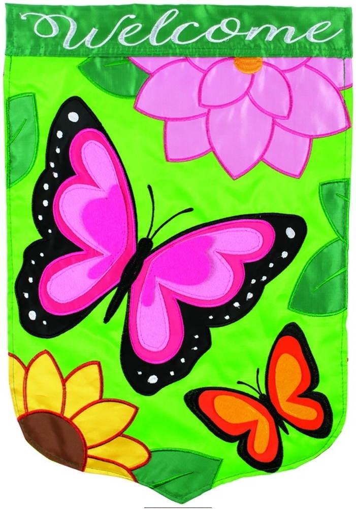 Bountiful Butterflies Double Applique Garden Flag
