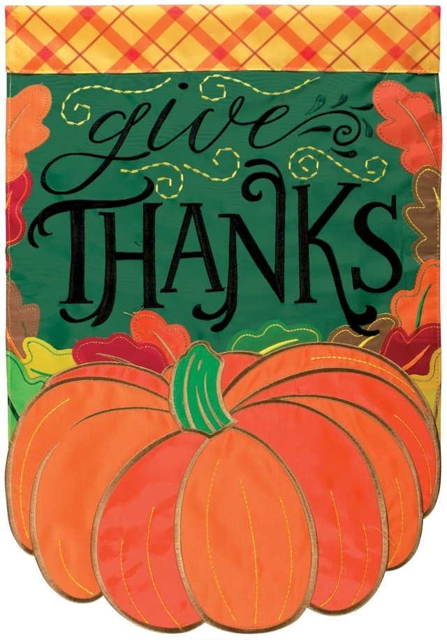 Give Thanks Pumpkin Double Applique Garden Flag