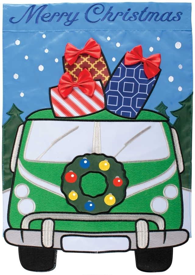 Christmas Van Applique Garden Flag
