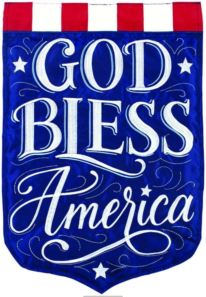 God Bless America Double Applique House Flag