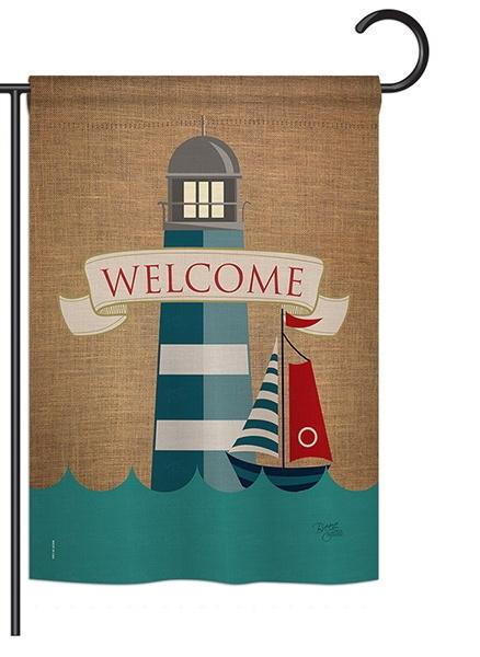 Lighthouse & Sailboat Garden Flag