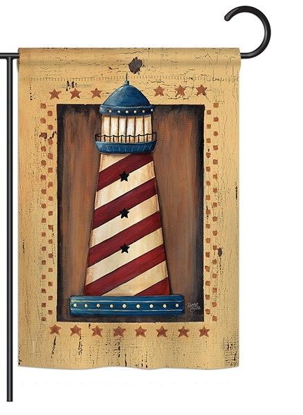 Patriotic Lighthouse Garden Flag