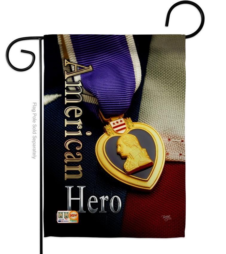 Purple Heart Hero Garden Flag