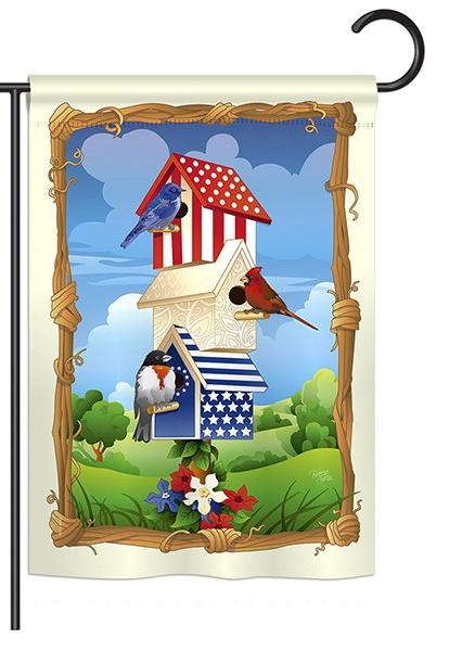 Star Spangled Birdhouse Garden Flag