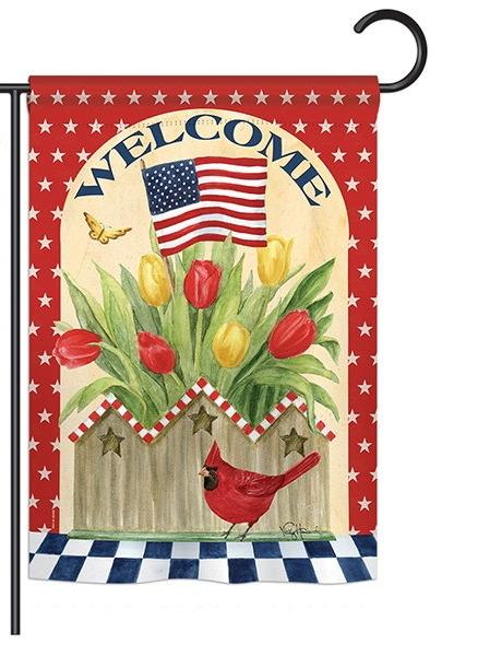 Patriotic Flowers Garden Flag