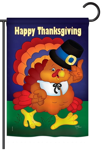 Happy Thanksgiving Turkey Garden Flag