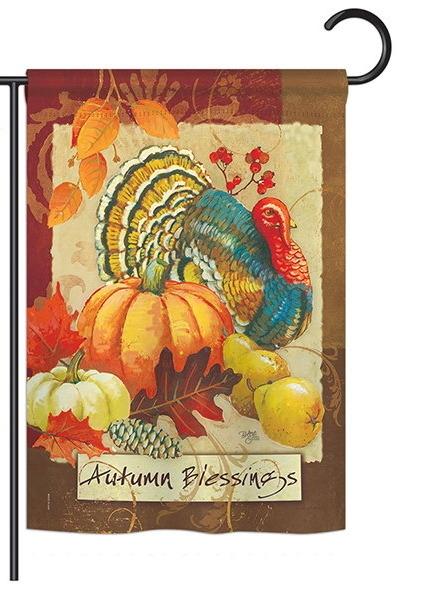 Autumn Blessings Turkey Garden Flag