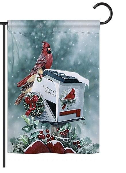 Christmas Cardinals Garden Flag