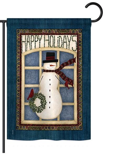 Happy Holidays Snowman Garden Flag
