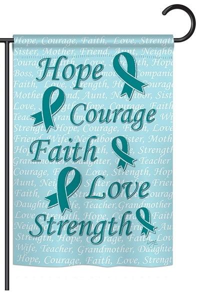 Hope, Faith, Courage (Teal) Garden Flag