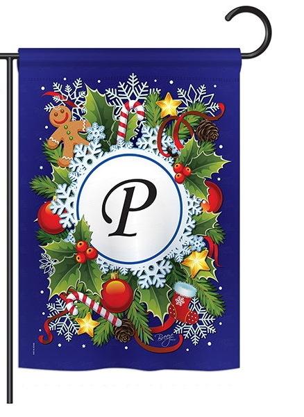 Winter P Monogram Garden Flag
