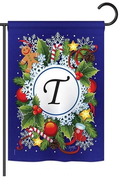 Winter T Monogram Garden Flag