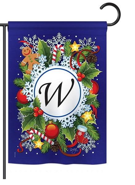 Winter W Monogram Garden Flag