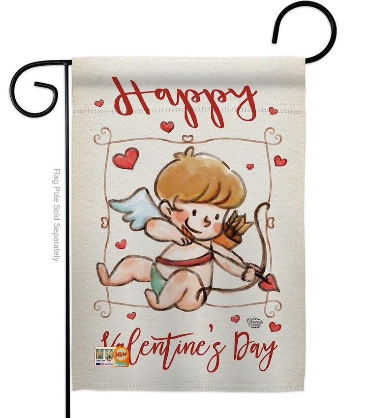 Happy Valentine's Day Cupid Garden Flag