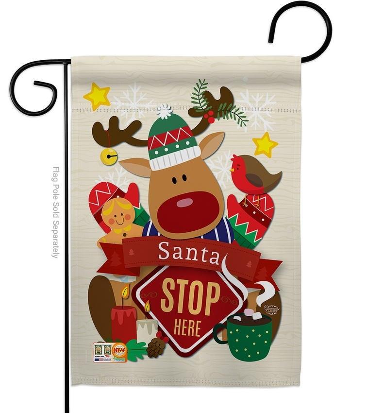 Santa Stop Here Decorative Garden Flag