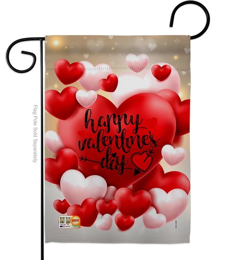 Pop Hearts Valentines Day Garden Flag