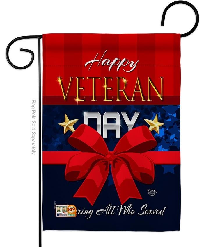 Happy Veteran Day Decorative Garden Flag