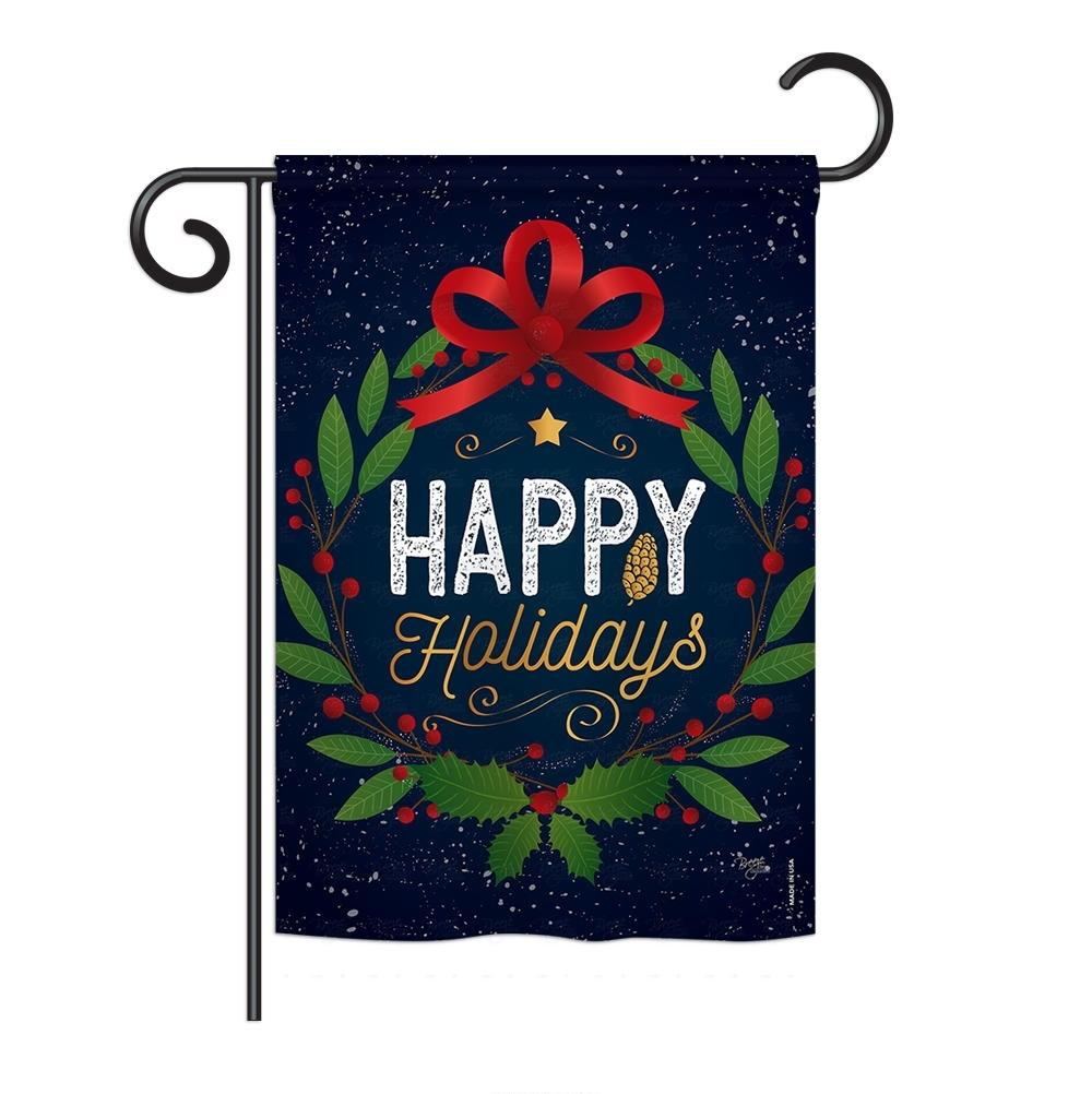 Happy Holidays Wreath Garden Flag