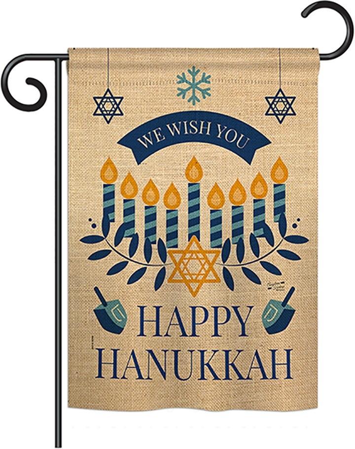 Wish You Happy Hanukkah Double Burlap Garden Flag