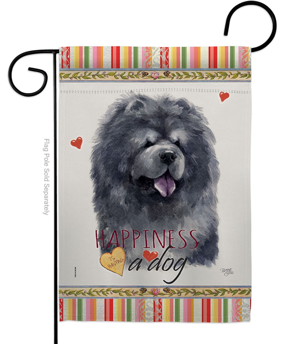 Black Chow Happiness Garden Flag
