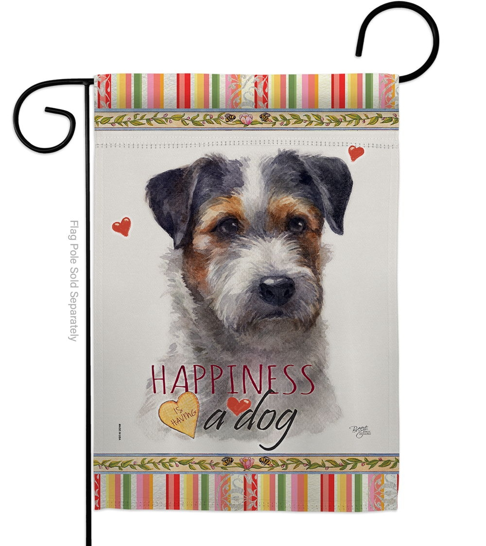 Black Jack Russell Happiness Garden Flag