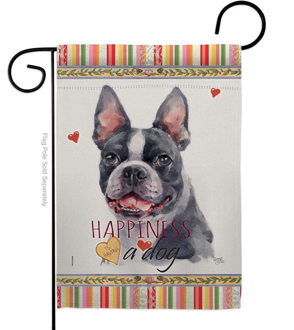 Boston Terrier Happiness Garden Flag