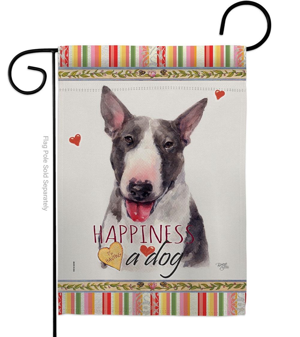 Bull Terrier Happiness Garden Flag