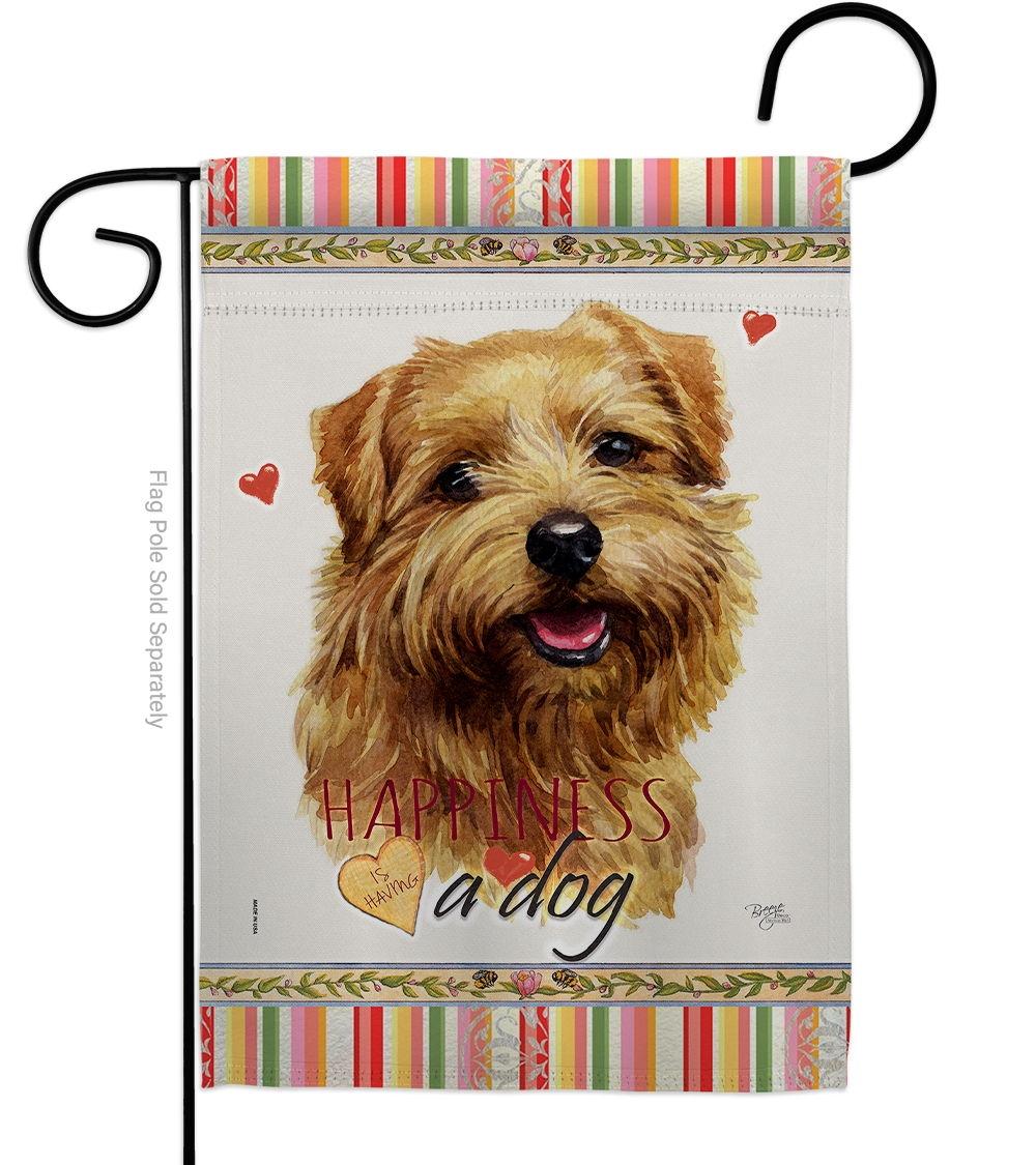 Tan Norfolk Terrier Happiness Garden Flag