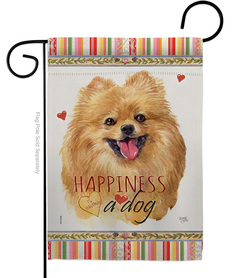 Pomeranian Happiness Garden Flag