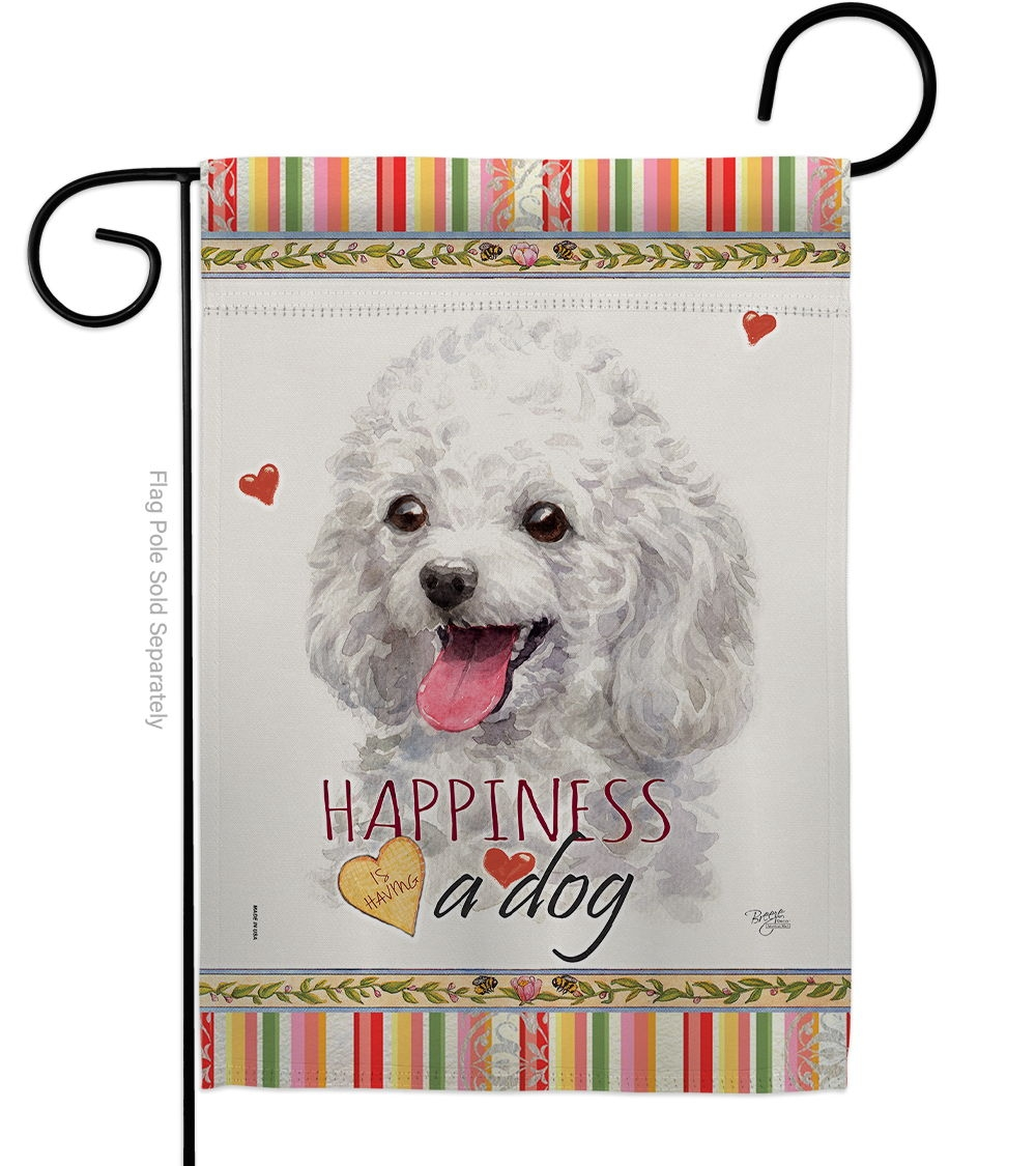 White Poodle Happiness Garden Flag