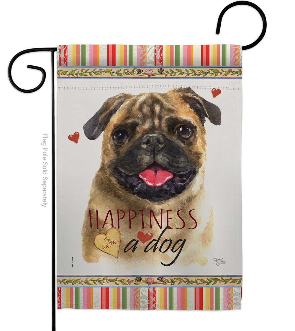 Pug Happiness Garden Flag