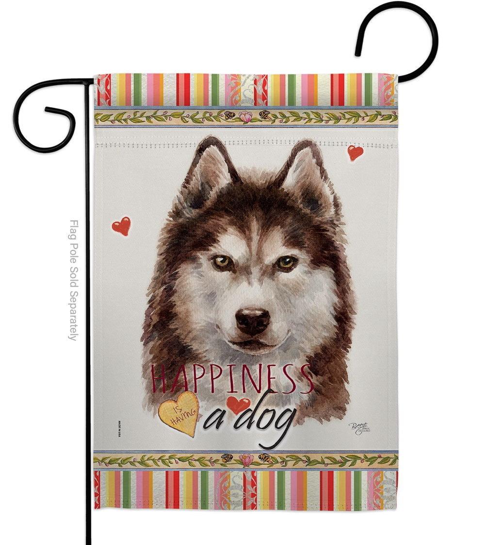 Brown Siberian Husky Happiness Garden Flag