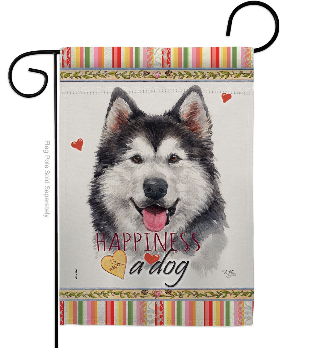 Siberian Husky Happiness Garden Flag