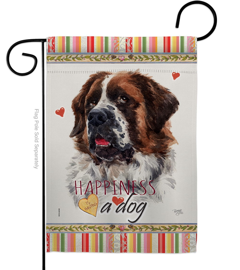 St. Bernard Dog Happiness Garden Flag