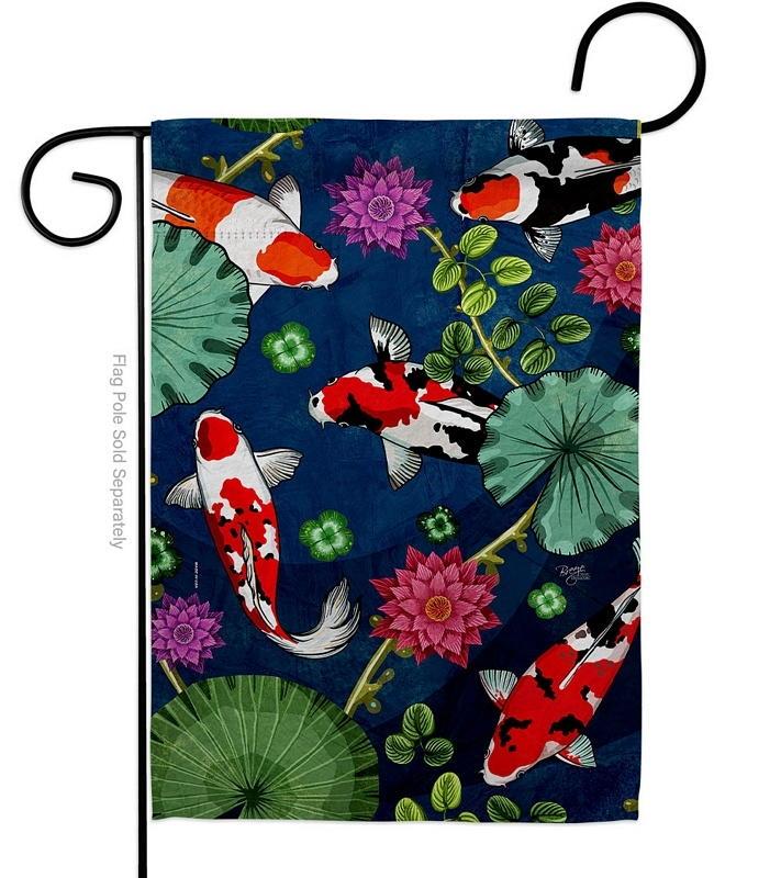 Koi Pond Garden Flag