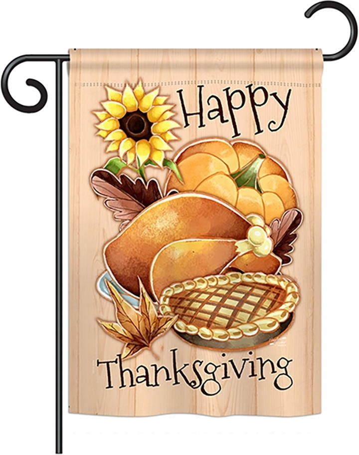 Happy Thanksgiving Feast Garden Flag