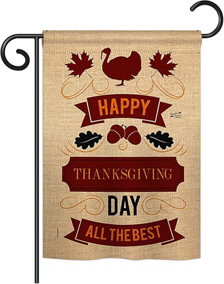 Thanksgiving Day The Best Double Burlap Garden Flag
