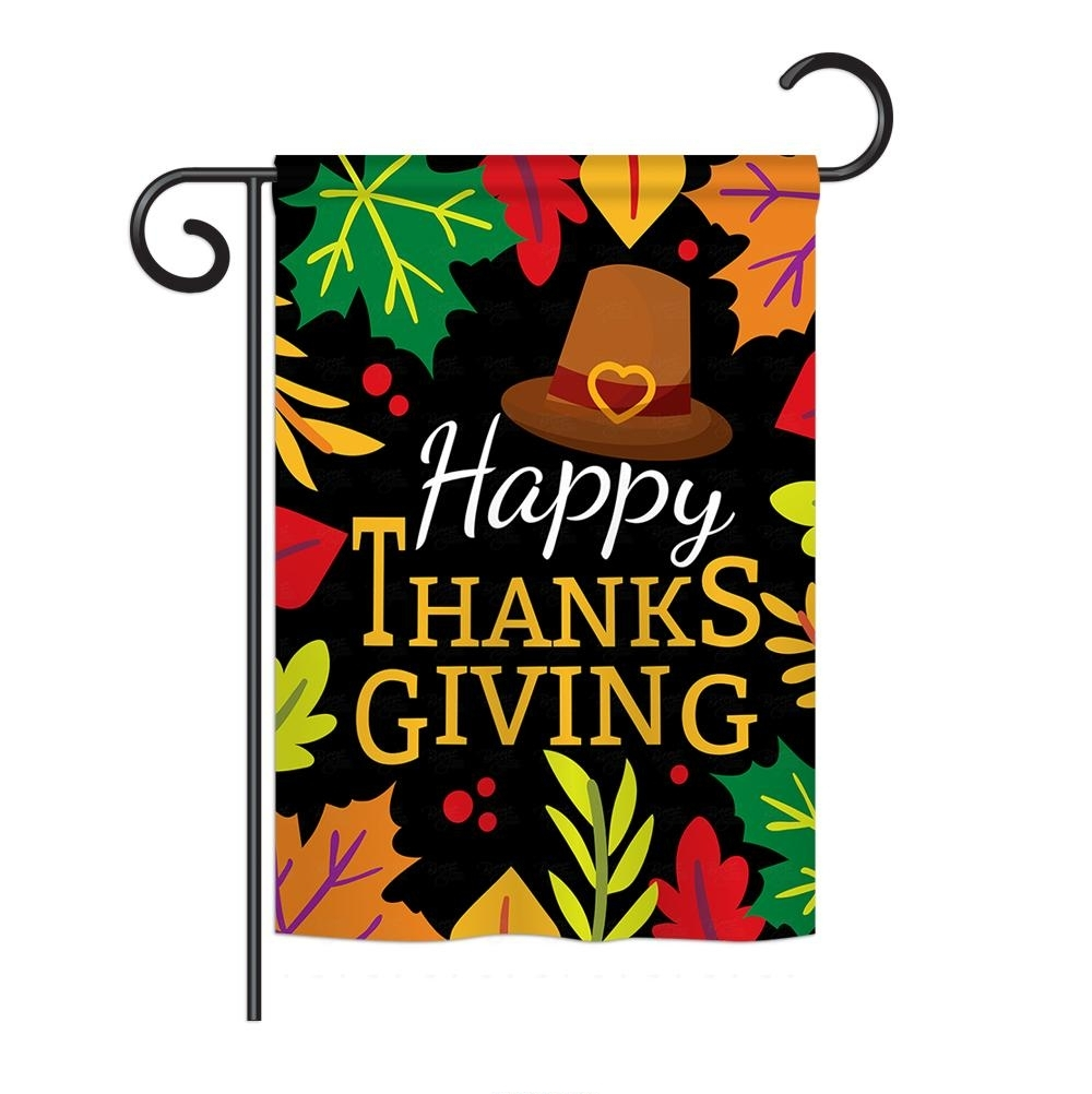 Happy Thanksgiving Leaves Garden Flag