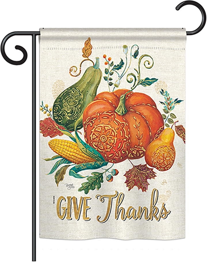Suzani Give Thanks Garden Flag